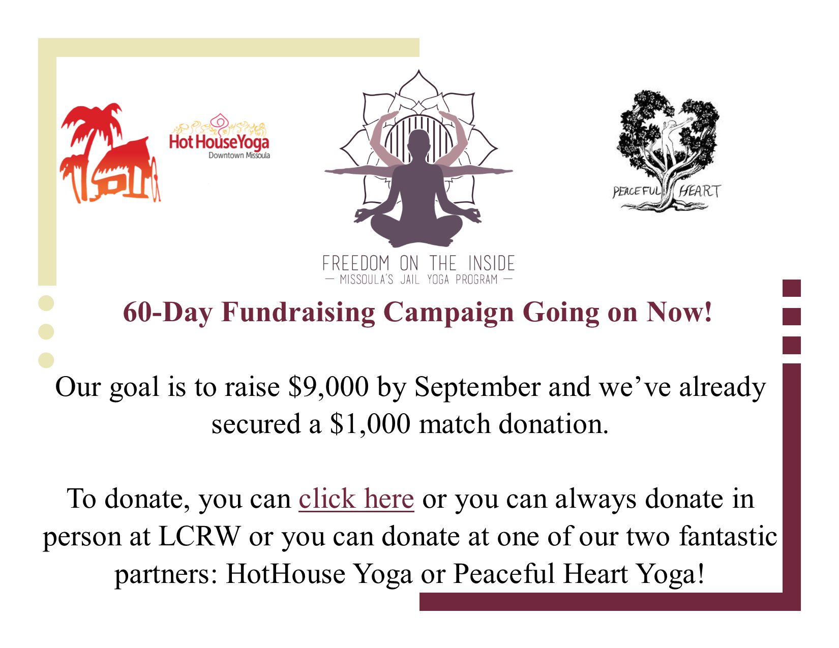FOTI 60-Day Donor Event Front Page Post